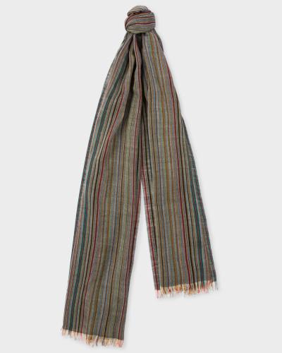 Signature Stripe Mercerised Wool Scarf