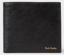 Black Grained Leather Billfold Wallet