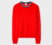 Red Cashmere Sweater With Textured Collar