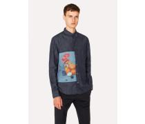 Slim-Fit Indigo Denim Shirt With Photographic Print