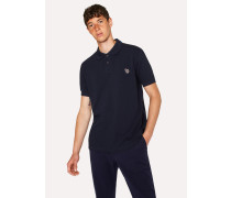 Dark Navy Organic Cotton-Piqué Zebra Logo Polo Shirt