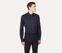 Slim-Fit Dark Navy Embroidered 'Sunglasses' Cotton Shirt
