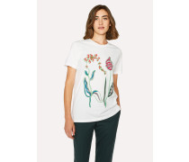 White Embroidered Floral T-Shirt