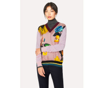 Pink 'Rose' Print Wool Sweater