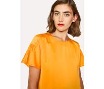 Orange Satin Flute Sleeve Top