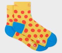 Yellow Polka Dot Cycling Socks
