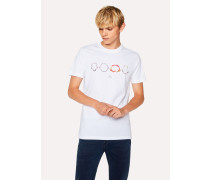 Slim-Fit White 'Shark Jaws' Print Organic-Cotton T-Shirt