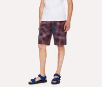 Blue Mid-Length Rainbow Check Shorts