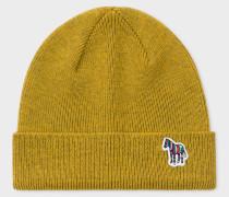 Mustard 'Zebra' Logo Ribbed Lambswool Beanie Hat