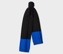 Navy Cable-Knit Scarf With Contrasting Ends