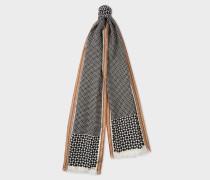 Black Geometric Motif Silk-Blend Scarf