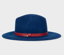 Navy Wool Fedora Hat With 'Swirl' Lining