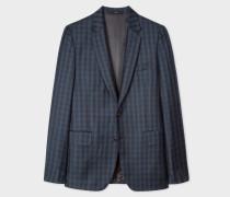 Tailored-Fit Dark Green Check Wool Blazer