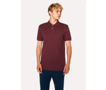 Slim-Fit Burgundy Embroidered 'Zebra' Polo Shirt