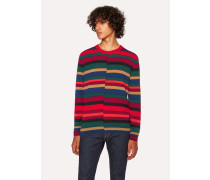 Red Wool Sweater With Multi-Coloured Stripes