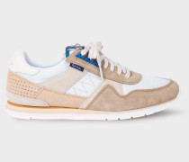 Taupe And White 'Vinny' Trainers With Suede Panels