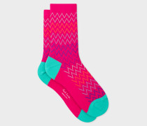 Pink Multi-Coloured Zig-Zag Stripe Socks