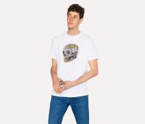 White Organic-Cotton 'Graffiti Skull' Print T-Shirt