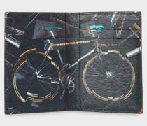 Black 'Paul's Bike' Print Interior Leather Credit Card Wallet