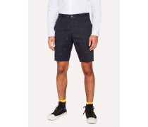 Mid-Fit Dark Navy Floral-Jacquard Shorts