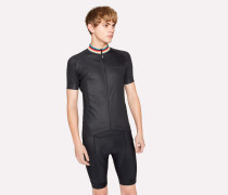 Black Cycling Jersey With 'Artist Stripe' Collar
