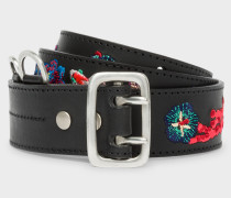 Black Embroidered 'Ocean' Pattern Leather Belt