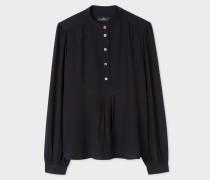 Black Band-Collar Silk Shirt