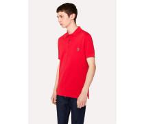 Red Organic Cotton-Piqué Zebra Logo Polo Shirt