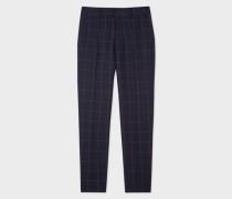 Classic-Fit Dark Navy Windowpane Check Loro Piana Wool Trousers