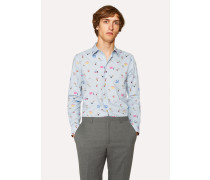 Slim-Fit Sky Blue 'Soho' Print Shirt With 'Artist Stripe' Cuff Lining