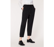 Black Wool Drawstring Tuxedo Trousers With Satin Stripe