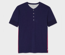 Navy Jersey Short Sleeve Henley Top