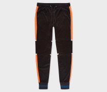 Black Colour-Block Panelled Cotton-Blend Sweatpants