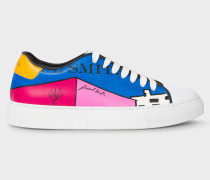 'LA Shop' Print Leather 'Basso' Trainers