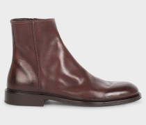 Chocolate Brown Leather 'Billy' Zip Boots