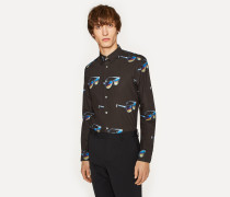 Slim-Fit Black 'Sunglasses' Print Cotton Shirt With Striped Cuff Lining