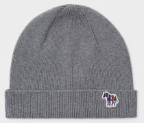Grey 'Zebra' Logo Ribbed Lambswool Beanie Hat