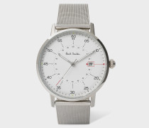 White And Stainless Steel 'Gauge' Watch With Milanese Mesh Strap