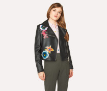 Black Leather Jacket With Painted 'Ocean' Detail