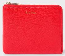 Red Textured Leather Corner-Zip Wallet