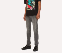 Tapered-Fit Light-Wash Black Stretch-Denim Jeans