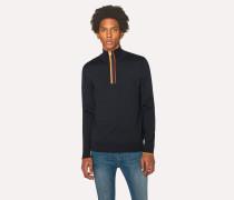 Dark Navy 'Artist Stripe' Funnel Neck Wool Half-Zip Sweater