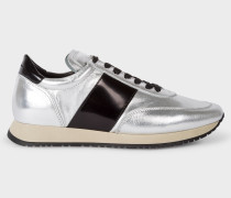Metallic Silver Leather 'Apollo' Trainers
