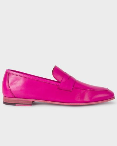 Fuchsia Leather 'Glynn' Penny Loafers