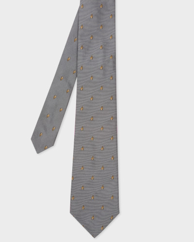 Grey Embroidered Rabbit Motif Silk Tie