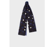 Navy Fil Coupé Moon Pattern Cotton-Silk Scarf