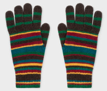 Signature Stripe Wool-Cashmere Gloves
