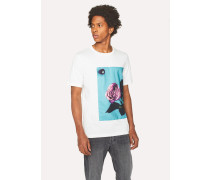 White T-Shirt With Appliqué 'Rose' Print