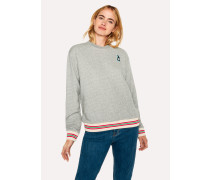 Grey Marl 'Rabbit' Embroidery Cotton Sweatshirt