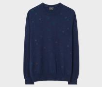 Navy Merino Wool Embroidered-Spot Sweater